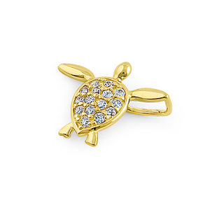 Solid 14K Yellow Gold Sea Turtle CZ Pendant