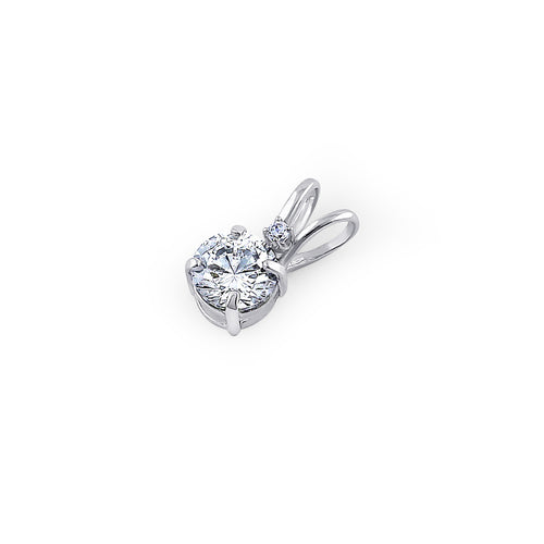 Solid 14K White Gold 4.5MM Round Clear CZ Pendant