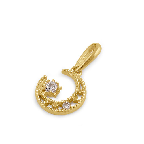 Solid 14K Gold Crescent Moon CZ Pendant