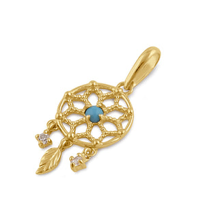 Solid 14K Gold Dreamcathcer CZ and Turquoise Pendant