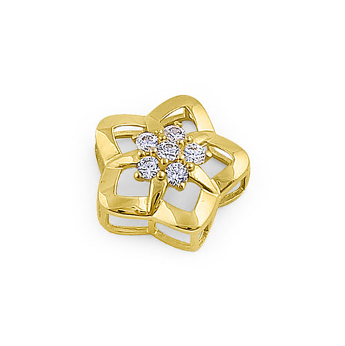 Solid 14K Yellow Gold Puffy Flower Star CZ Pendant