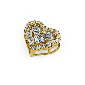 Solid 14K Yellow Gold Sparkle Heart Round & Princess Cut CZ Pendant