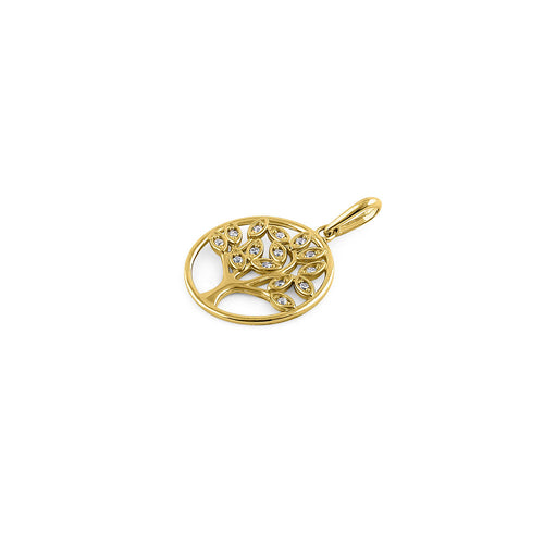 Solid 14K Yellow Gold Plain Tree of Life CZ Pendant