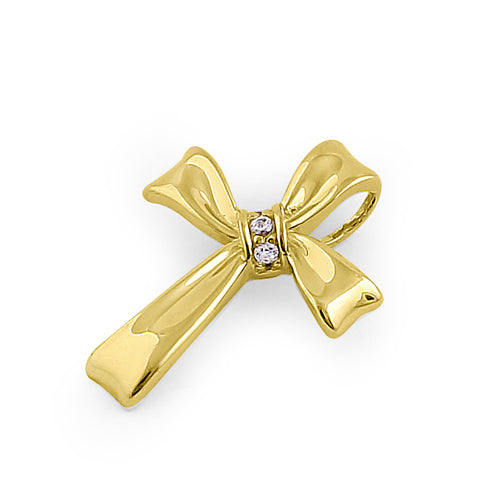 Solid 14K Yellow Gold Ribbon Cross CZ Pendant