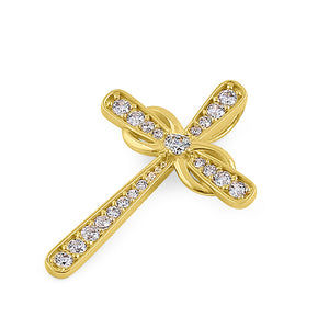 Solid 14K Yellow Gold Relic Cross CZ Pendant