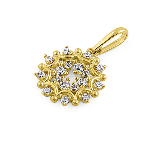 Solid 14K Yellow Gold Glamorous Circle CZ Pendant