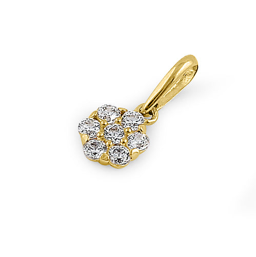 Solid 14K Yellow Gold Small Flower Cluster CZ Pendant