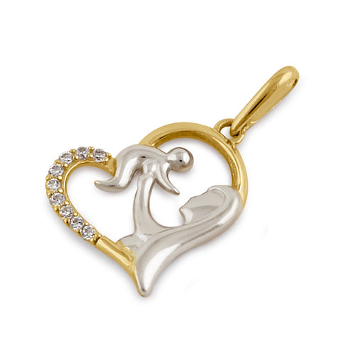 Solid 14K Gold Loving Mom's Heart CZ Pendant