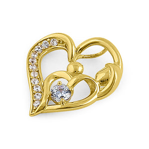 Solid 14K Yellow Gold Mother and Child Heart CZ Pendant