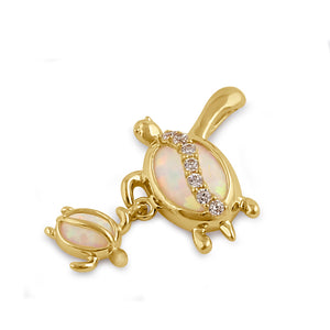 Solid 14K Gold Turtle Mom and Baby CZ and White Opal Pendant