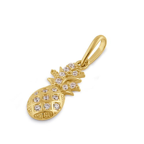 Solid 14K Gold Pineapple with Clear CZ Pendant