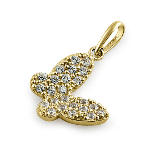 Solid 14K Yellow Gold CZ Butterfly Pendant