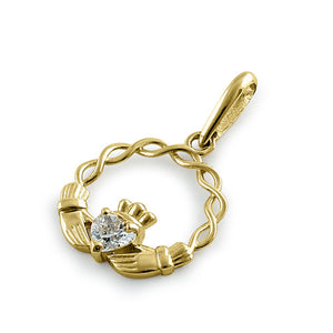 Solid 14K Yellow Gold Claddagh CZ Pendant