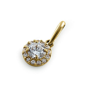 Solid 14K Yellow Gold Round Halo CZ Pendant
