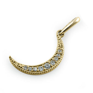 Solid 14K Yellow Gold Crescent CZ Pendant