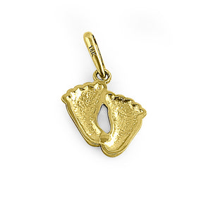 Solid 14K Yellow Gold Toddler Feet Pendant