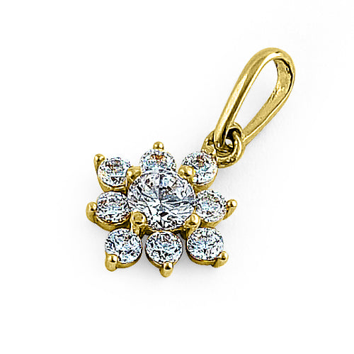 Solid 14K Yellow Gold Artistic Flower Round CZ Pendant
