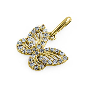 Solid 14K Yellow Gold Monarch Butterfly CZ Pendant