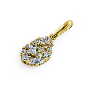Solid 14K Yellow Gold Oval Cluster CZ Pendant