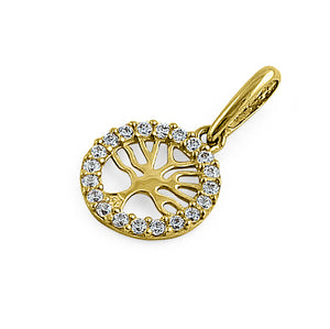 Solid 14K Yellow Gold Tree of Life Round CZ Pendant