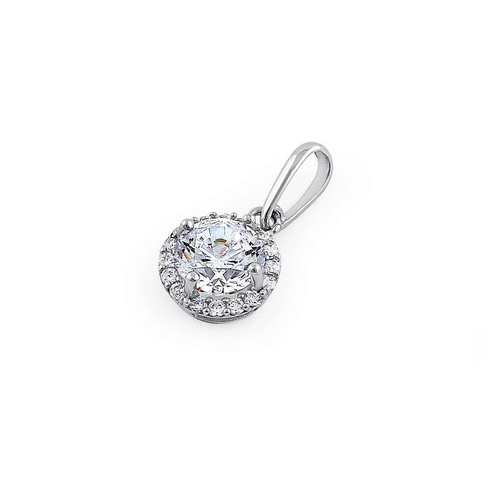 Solid 14K White Gold Round Halo Clear CZ Pendant