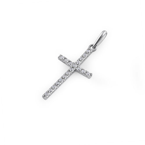 Solid 14K White Gold Cross Clear CZ Pendant