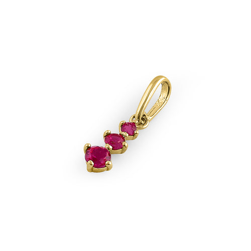 Solid 14K Yellow Gold Triple Round Ruby CZ Pendant