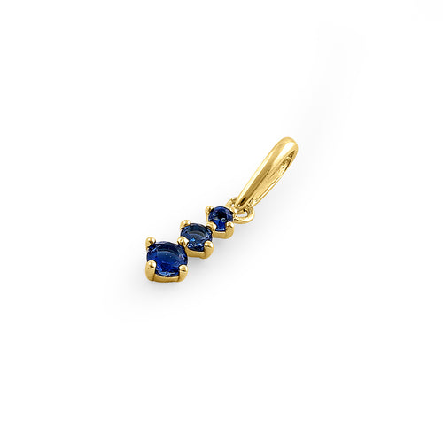 Solid 14K Yellow Gold Triple Round Blue Sapphire CZ Pendant