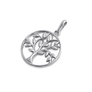 Solid 14K White Gold Tree of Life Pendant