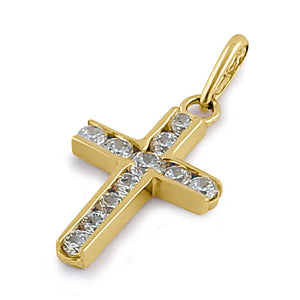 Solid 14K Yellow Gold Clear CZ Cross Pendant