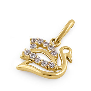 Solid 14K Yellow Gold Clear CZ Swan Pendant