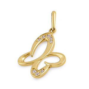 Solid 14K Yellow Gold Clear CZ Sweet Butterfly Pendant