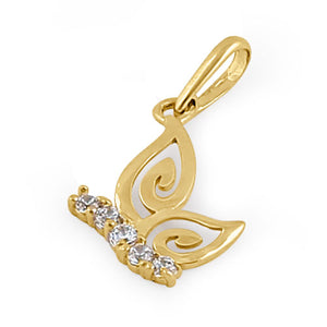 Solid 14K Yellow Gold Clear CZ Butterfly Pendant
