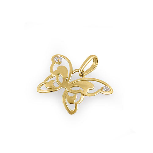 Solid 14K Yellow Gold Butterfly Pendant