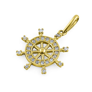 Solid 14K Yellow Gold Ship's Wheel CZ Pendant