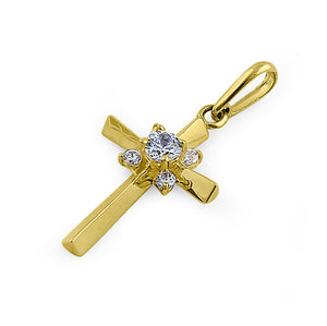 Solid 14K Yellow Gold Ancient Cross CZ Pendant