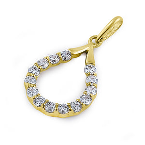 Solid 14K Yellow Gold Artistic Drop CZ Pendant