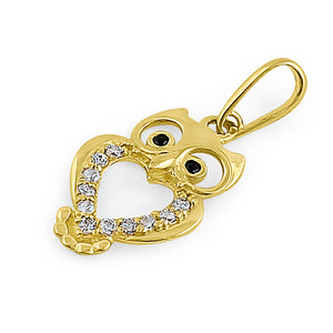 Solid 14K Yellow Gold Owl Black CZ Pendant