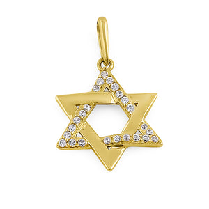 Solid 14K Yellow Gold Star of David CZ Pendant