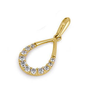 Solid 14K Yellow Gold Elegant CZ Drop Pendant