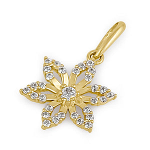 Solid 14K Yellow Gold CZ Lily Flower Pendant