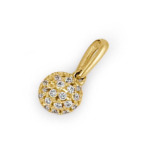 Solid 14K Yellow Gold CZ Half Ball Pendant