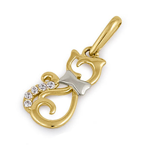 Solid 14K Yellow Gold CZ Cat Pendant
