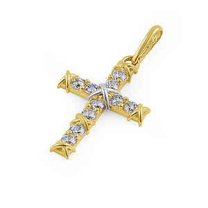 Solid 14K Yellow Gold White Gold Plated Bond Cross CZ Pendant