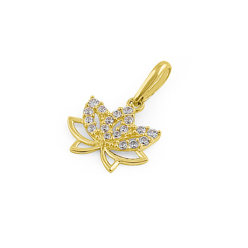 Solid 14K Yellow Gold Lotus Flower CZ Pendant