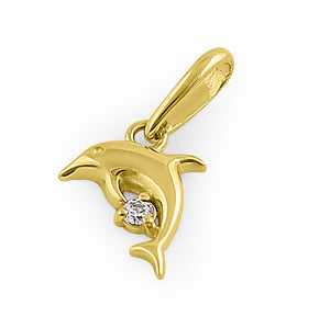 Solid 14K Yellow Gold Leaping Dolphin CZ Pendant