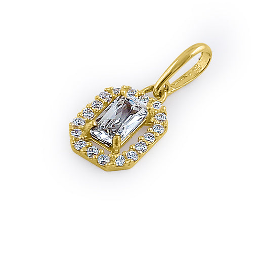 Solid 14K Yellow Gold Small Emerald Cut CZ Pendant