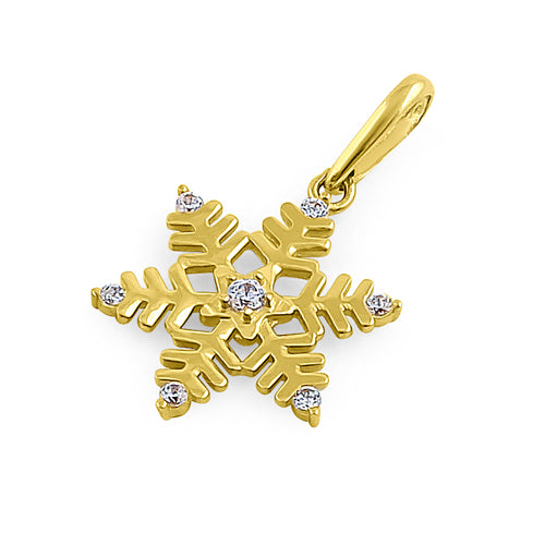 Solid 14K Yellow Gold Snowflake CZ Pendant