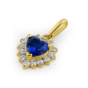 Solid 14K Yellow Gold Heart Halo Blue Sapphire CZ Pendant