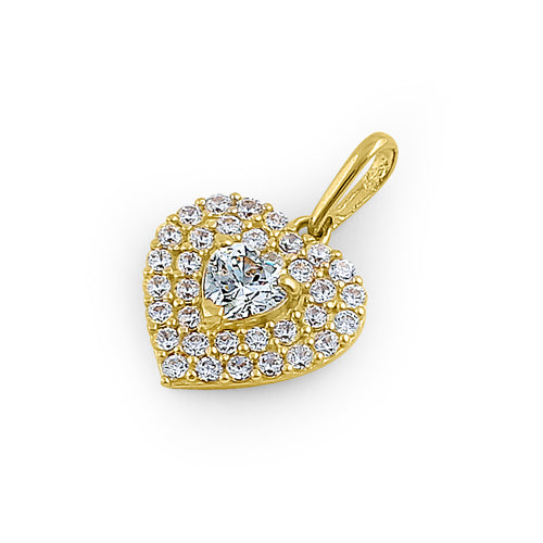 Solid 14K Yellow Gold Inner Heart Pave CZ Pendant